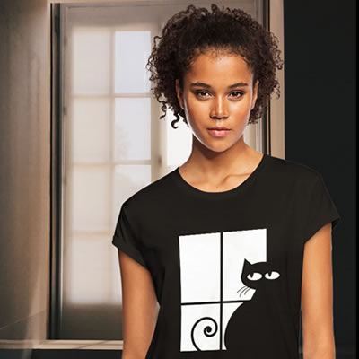 Black cat at window t-shirt